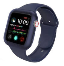 Szilikon Apple Watch szíj és tok 44mm Sötétkék