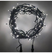 100 LED Kül és Beltéri Toldható Fényfüzér Zöld vezeték HIDEG FEHÉR
