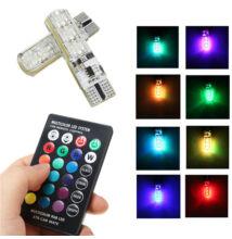 RGB távvezérelhető T10 helyzetjelző LED égő 15 szín