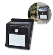 Napelemes fali kültéri LED lámpa mozgásérzékelős 20LED