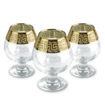 Konyakos pohár készlet arany színű görög mintás szegéllyel 6db