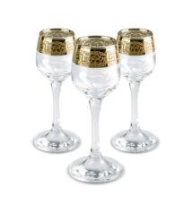 Likőrös pohár készlet arany színű görög mintás szegéllyel 6db