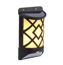 Lángot imitáló LED szolár mozgásérzékelős fali lámpa 12 LED