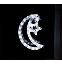 LED világító ablakdísz hold 40cm hideg fehér
