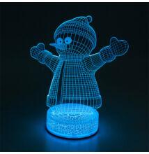 3D LED dekorációs éjszakai fény RGB hóember TB1127