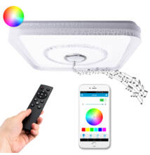 RGB LED Mennyezeti Négyzet Lámpa Beépített Bluetooth Hangszóró 43x43cm