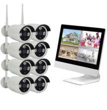 WIFI Vezeték Nélküli Biztonsági Kamera Rendszer Monitor és Rögzítő egyben 8 Kamerás CCTV K9508-W