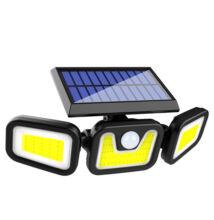 Napelemes fali COB LED kültéri lámpa mozgásérzékelős 3 világító egység FL-1725B