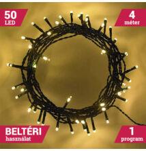 50LED Elemes Karácsonyi LED Fényfüzér MELEG FEHÉR