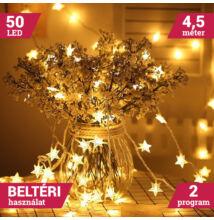 50 LED meleg fehér elemes csillag fényfüzér 4,5m