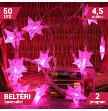 50 LED Pink színű elemes csillag fényfüzér 4,5m