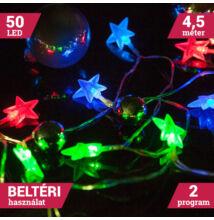 50 LED színes elemes csillag fényfüzér 4,5m