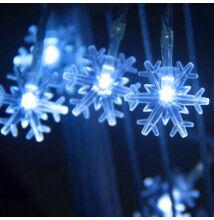 50 LED kék színű elemes hópehely fényfüzér 5m