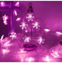 50 LED rózsaszín színű elemes hópehely fényfüzér 5m