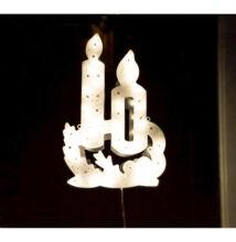 LED világító ablakdísz gyertya 40cm meleg fehér