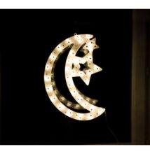 LED világító ablakdísz hold 40cm meleg fehér