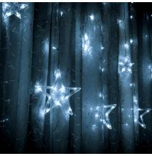 Karácsonyi LED fényfüzér csillagok hideg fehér 6 nagy, 6 kicsi 2,5m x 85cm DN-SA0138HF