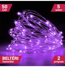 LED tündérfény fényhuzal 5m 50LED LILA