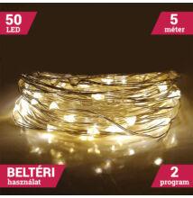 LED tündérfény fényhuzal 5m 50LED MELEG FEHÉR