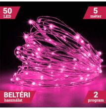 LED tündérfény fényhuzal 5m 50LED PINK