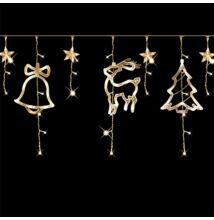 Karácsonyi figurás csillag LED  jégcsap fényfüzér 3m meleg fehér