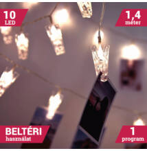 Karácsonyi LED dekor csipesz 10 LED meleg fehér 2 x AA 58035
