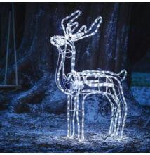 LED mozgó fejű rénszarvas kültéri beltéri álló 120 cm hideg fehér karácsonyi világítás