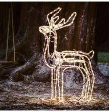 LED mozgó fejű rénszarvas kültéri beltéri álló 120 cm meleg fehér karácsonyi világítás