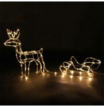 LED rénszarvas szánnal kültéri beltéri álló 60cm meleg fehér karácsonyi világítás