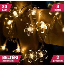 LED sakura fényfüzér átlátszó vezeték 30LED 3m meleg fehér