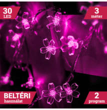 LED sakura fényfüzér átlátszó vezeték 30LED 3m pink