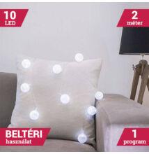 LED textil gömb fényfüzér hideg fehér 10 LED