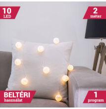 LED textil gömb fényfüzér meleg fehér 10 LED