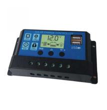 Napelem okos töltésszabályzó vezérlés automata átkapcsolás LCD kijelzővel USB csatlakozóval 12V 24V 20A DY-003