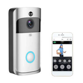 Vezeték nélküli WiFi okos kapucsengő beépített HD kamerával ezüst