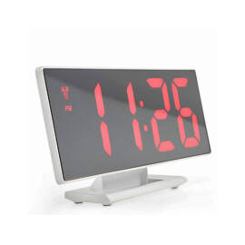 Fehér tükör kijelzős digitális ébresztő óra asztali hőmérő DS-3618L