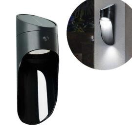 Napelemes kültéri dekor LED fali lámpa mikrohullámú érzékelővel fekete