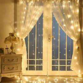 LED Fényfüggöny 3mx3m Meleg Fehér