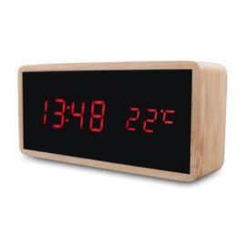 Digitális LED bambusz óra riasztás hőmérséklet kijelzés