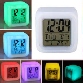 Színváltós LED ébresztőóra hőmérővel