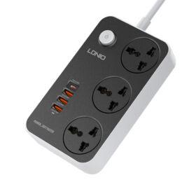LDNIO Hálózati Töltő Gyorstöltéssel 38W PD20W 3 univerzális aljzat és 3 QC 3.0 USB SC3412