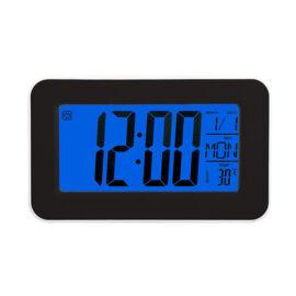 LED digitális ébresztőóra kék háttérvilágítás naptár hőmérő fekete DS-3623-1