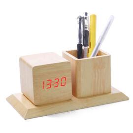 Fahatású asztali óra ébresztőóra tolltartó hőmérő