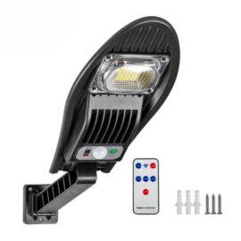 Napelemes LED kültéri mozgásérzékelős fali lámpa távirányítóval 20W W776B