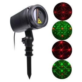Karácsonyi kerti lézer világítás mozgó fényeffektusok piros zöld