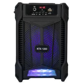 """Bluetooth hordozható hangszóró multimédia lejátszó mikrofonnal MP3 USB FM rádió TF 6,5"""" 1200mAh KTX-1203"""