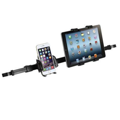 Autós telefon és tablettartó 2 in 1 fejtámlára rögzíthető
