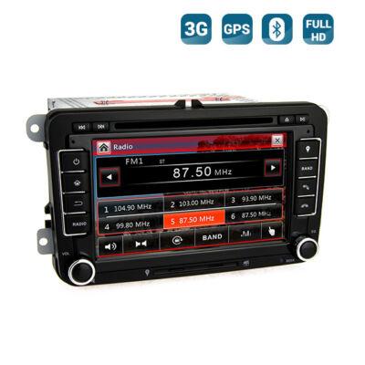 Volkswagen Seat Skoda Autós Hifi Fejegység GPS 3G Bluetooth Full HD
