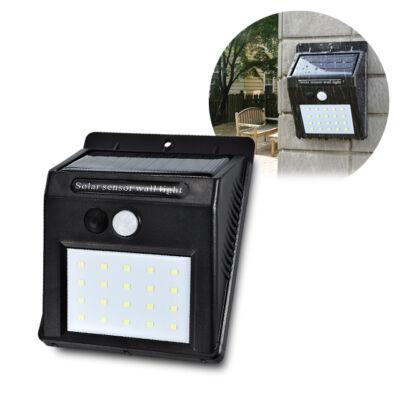 Napelemes fali LED lámpa mozgásérzékelős 20LED