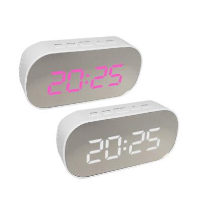 Fehér tükör kijelzős digitális ébresztő óra asztali hőmérő DT-6506